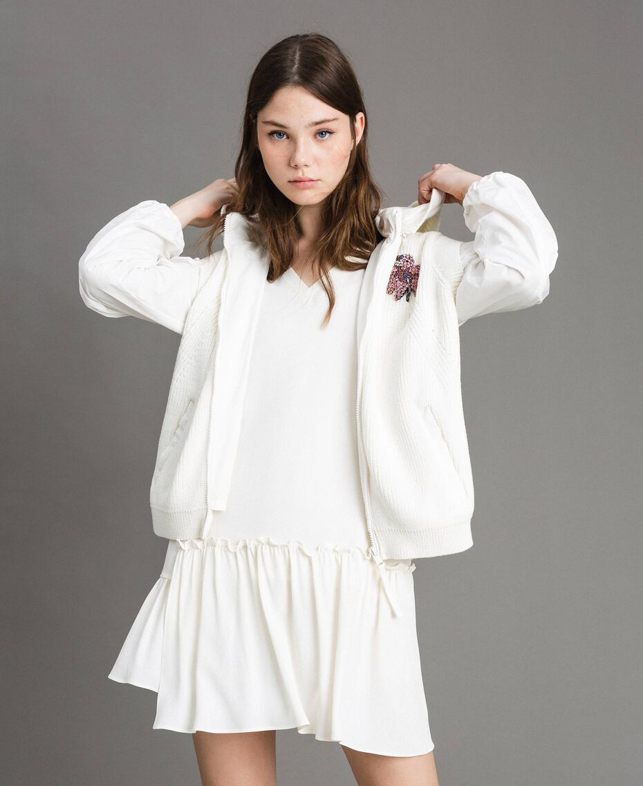 "Taffeta and knit sweatshirt ""Silk"" White Woman 191TP2041-01"