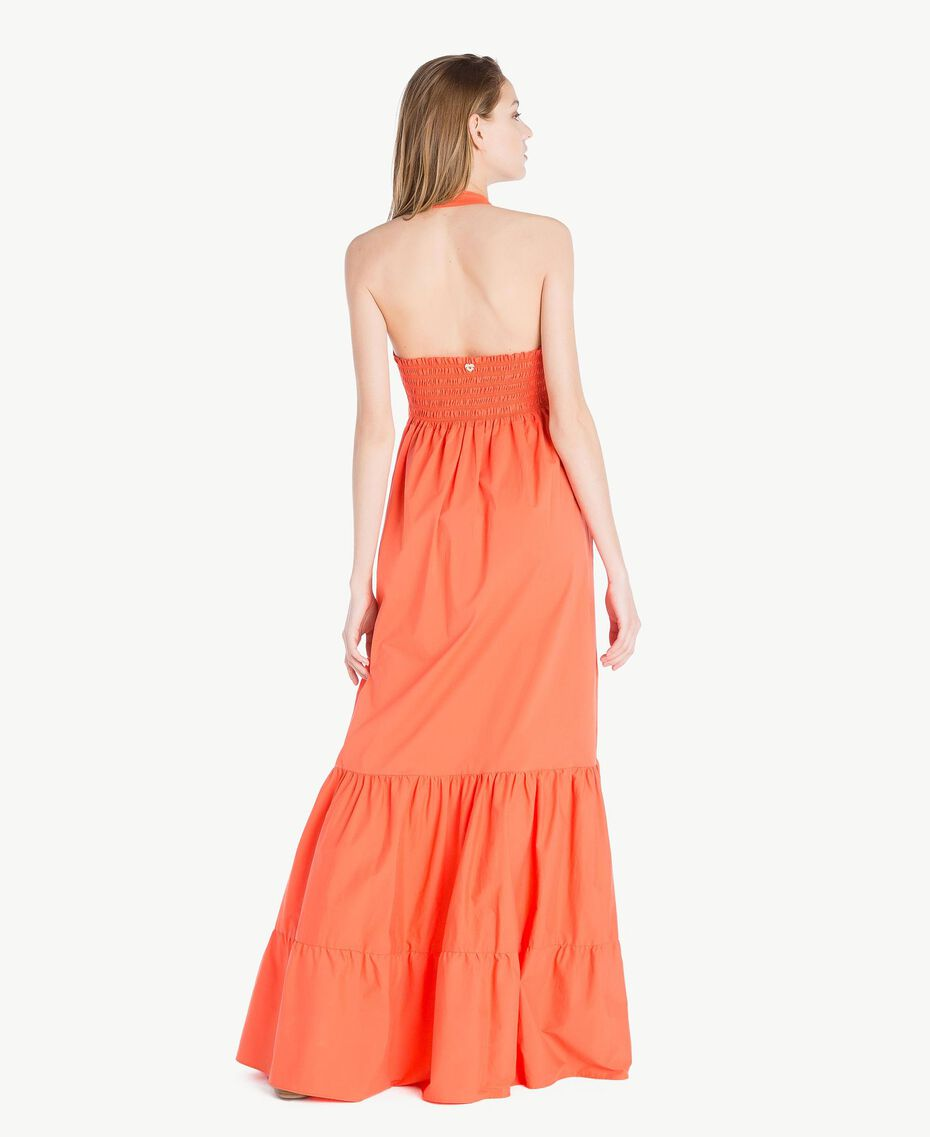 Langes Kleid aus Popeline Orange Frau TS821C-03