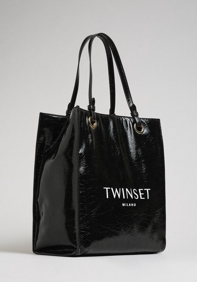 Faux patent leather shopping bag with logo