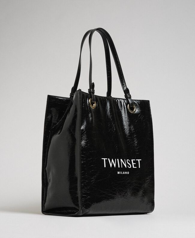 Faux patent leather shopping bag with logo Black Woman 192TA7170-01