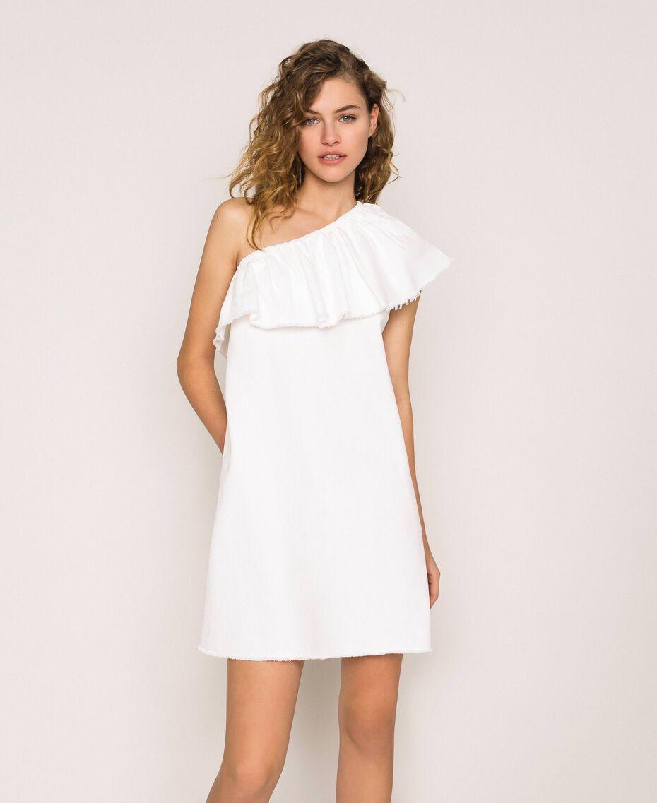 "Robe en jean blanc avec volant Blanc ""Ice"" Femme 201MT2365-02"