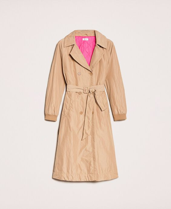Double breasted taffeta trench coat