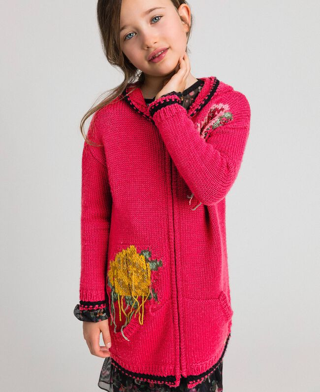 "Wool blend maxi cardigan with rose inlay ""Candy"" Fuchsia/ Black Child 192GJ3021-01"