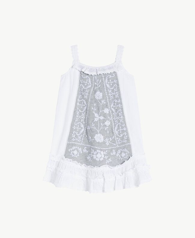 "Embroidered dress ""Papyrus"" White Jacquard Stripes / Light Melange Grey Child FS82LB-01"