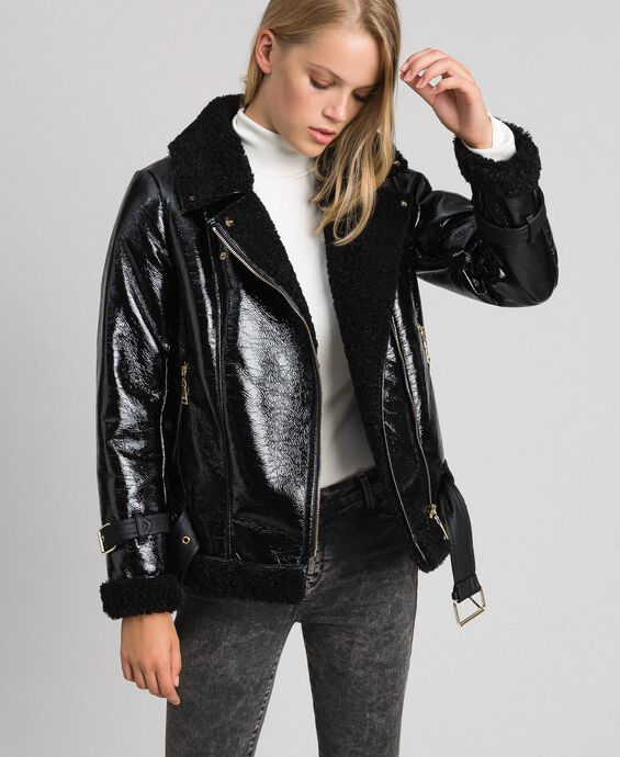 Patent leather effect faux shearling biker jacket