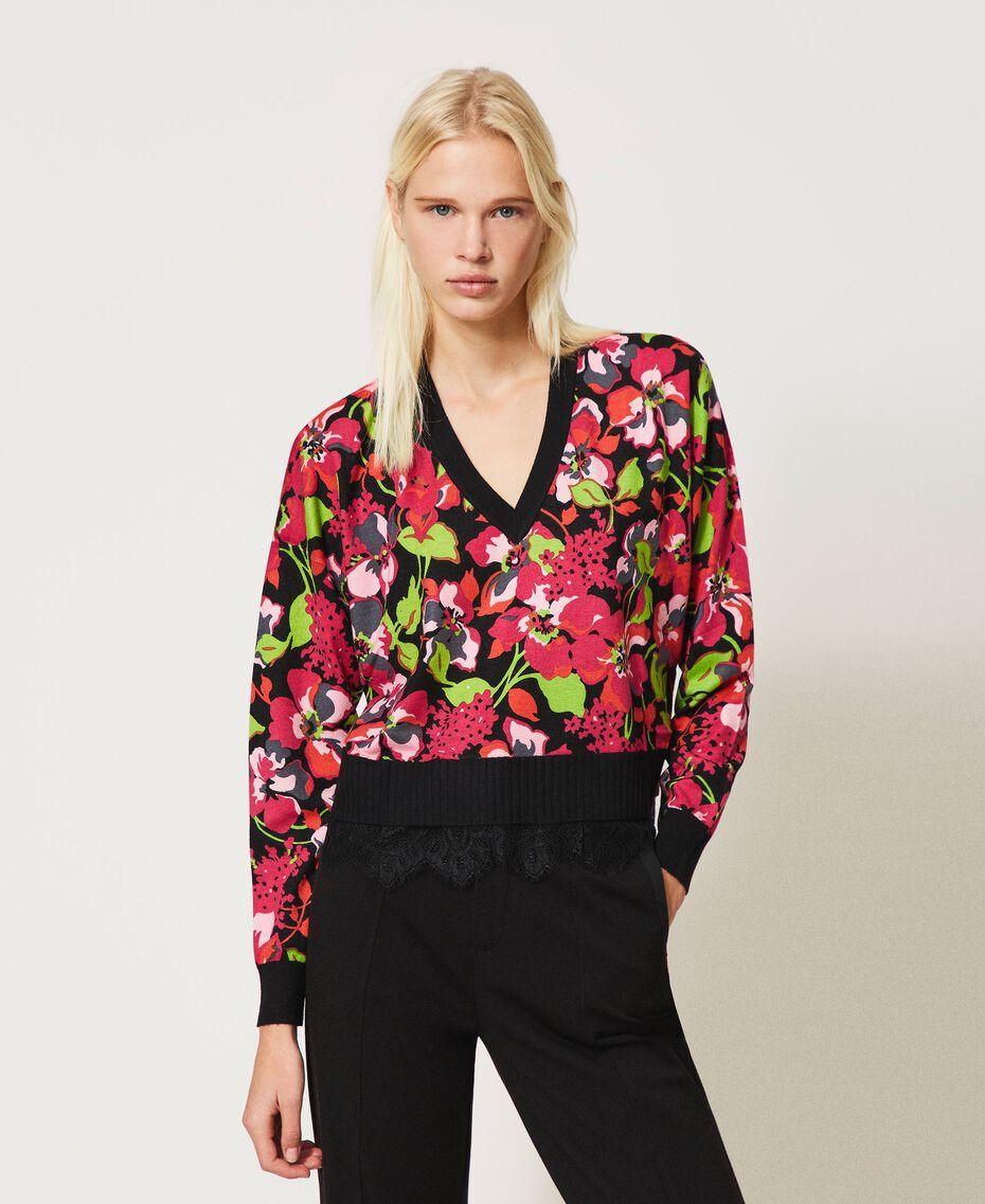 Jersey boxy de flores con encaje Estampado Animal Flowers Negro / Rojo «Cerise» Mujer 202TP3504-01
