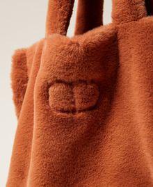 """Plush shopper with logo """"Tan Powder"""" Brown Woman 212TB7350-03"""