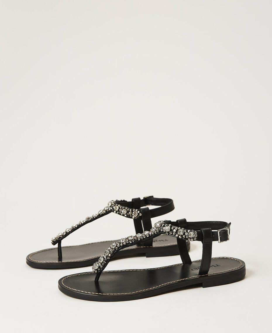 Sandales plates avec chatons et strass Noir Femme 211TCT044-01