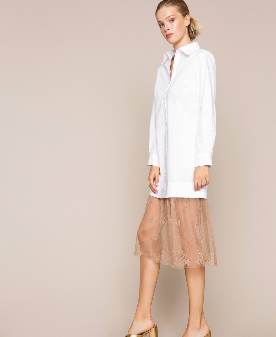 Poplin and lace shirt dress Two-tone Optical White / Light Brown Woman 201ST2028-02