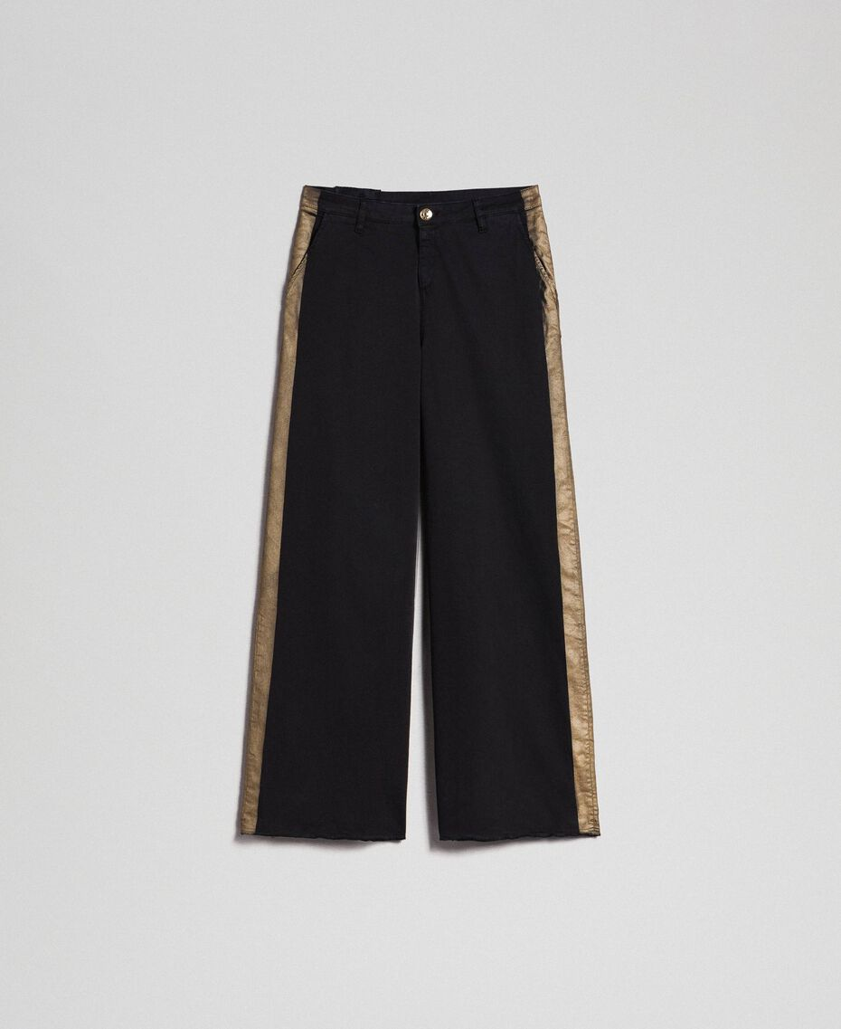 Wide leg trousers with side bands Bicolour Black / Gold Woman 192MP2410-0S
