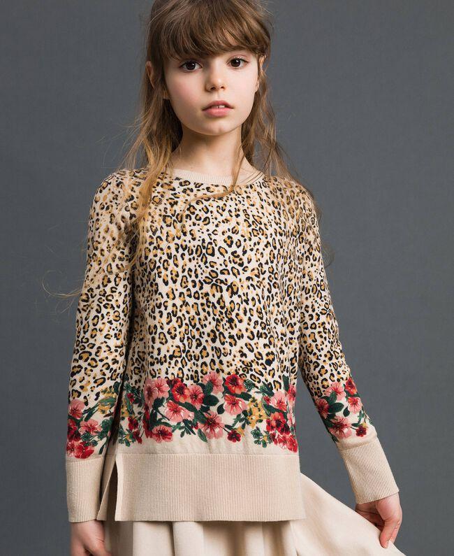 Pull avec imprimé animalier et floral Imprimé Léopard / Fleur Enfant 192GJ3181-01