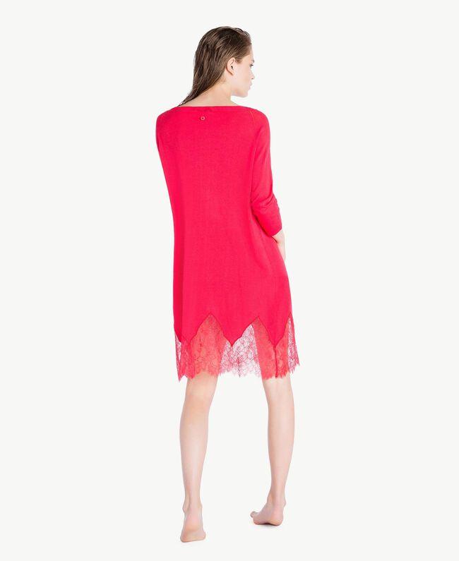 Kleid mit Spitze Kirschrot Frau LS8BPP-04