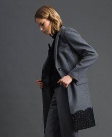 Mantel aus Tuch mit Spitze Durchschnittgrau-Mélange Frau 192TP2314-02
