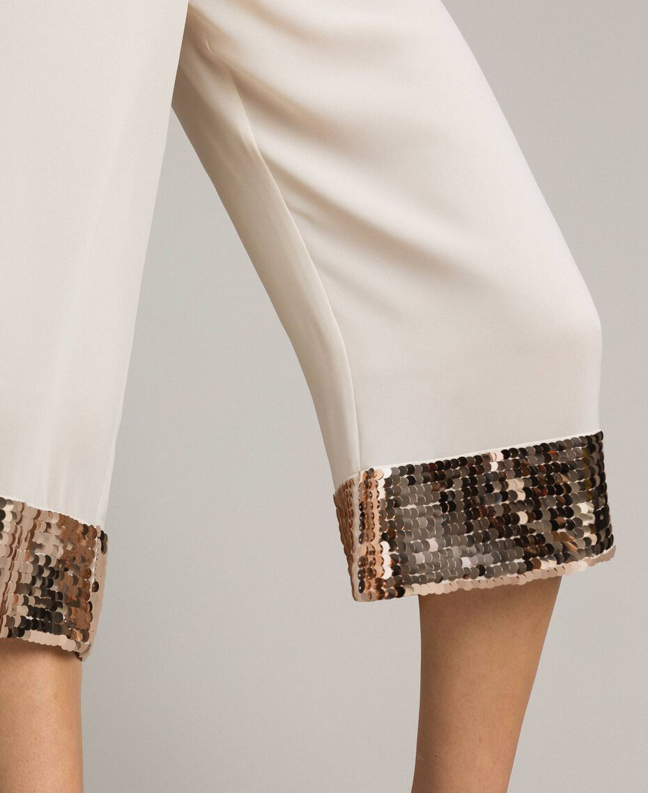 """Cropped trousers with sequins """"Milkway"""" Beige Woman 191LM2CBB-05"""
