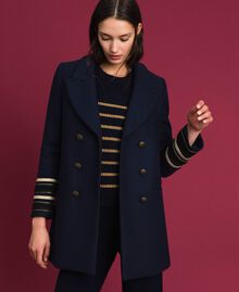 Double breasted wool cloth coat Midnight Blue Woman 192TT2161-01