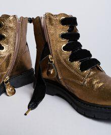 Bottines en cuir avec feston Marron Caramel Enfant HA88CE-01