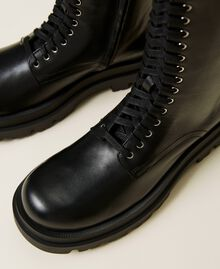High top leather combat boots Black Woman 212TCP230-04