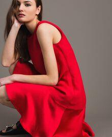 """Leinen-Kleid aus Enver-Satin mit Volant """"Lipstick Red"""" Rot Frau 191TT2304-05"""