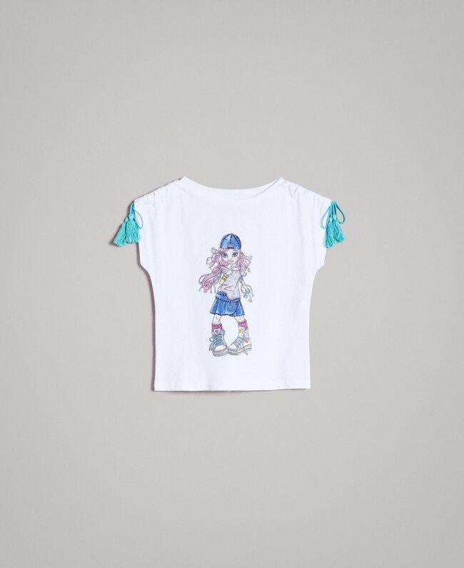 Jersey T-shirt with print and rhinestones White Child 191GB2512-01