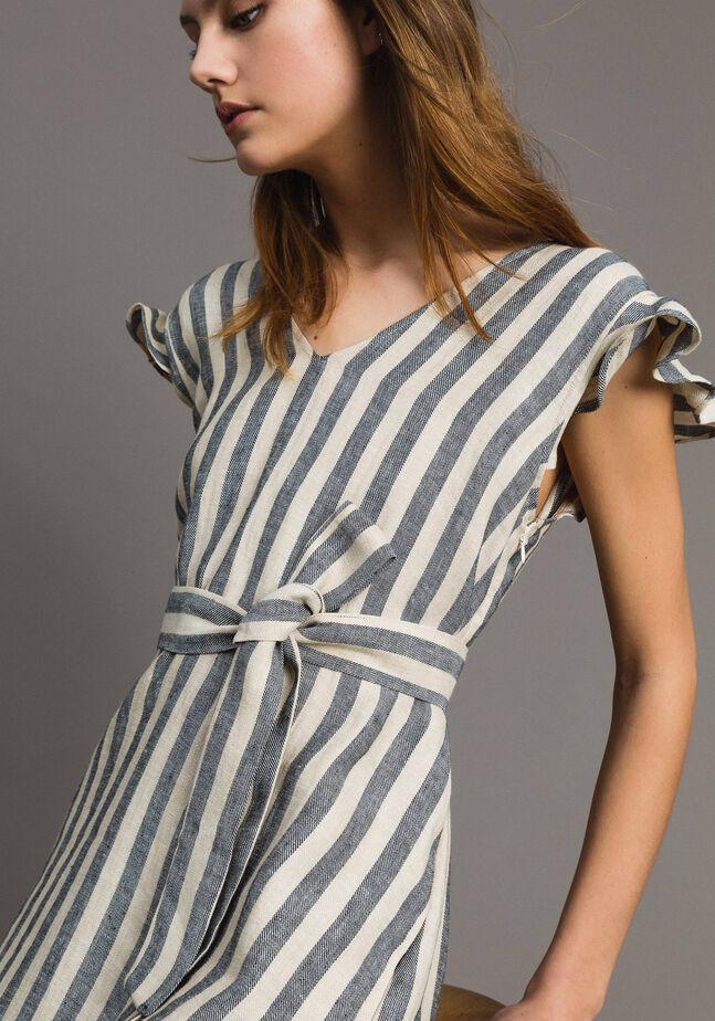 Zweifarbig gestreiftes Leinen-Kleid
