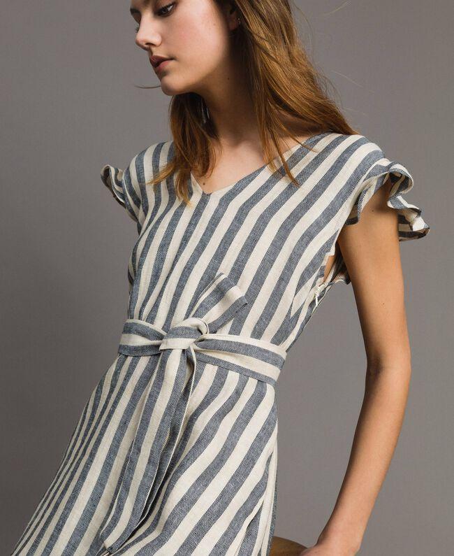 "Two-tone striped linen dress Two-tone Black / ""Marzipan"" Beige Woman 191TT2315-01"