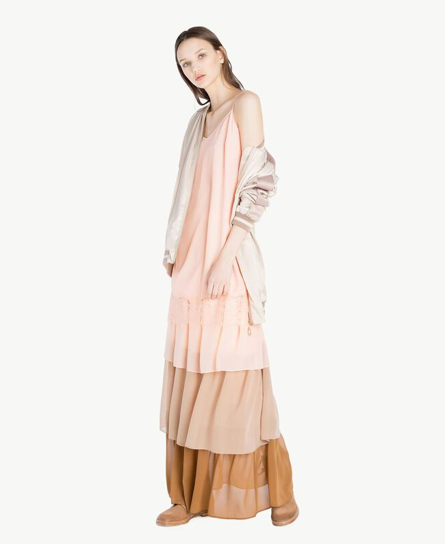 "Long flounce skirt Multicolour ""Rope"" Beige Woman SS82DE-05"