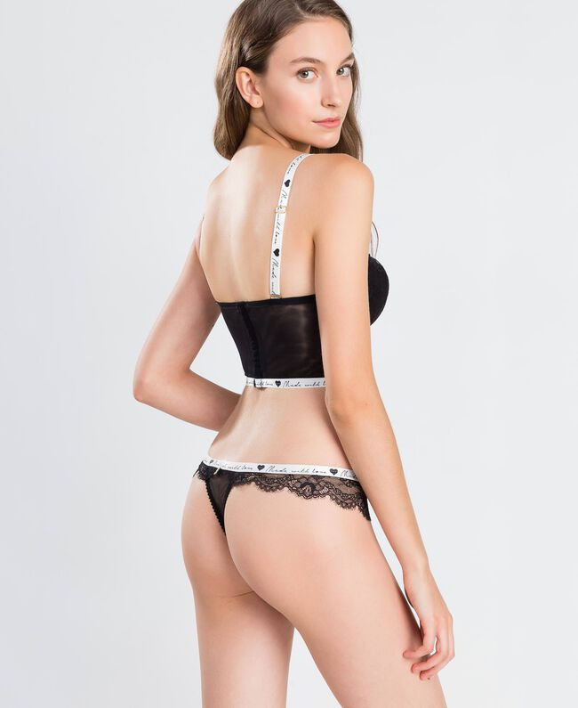 Lace thong with contrast elastic Black Woman LA8F88-03