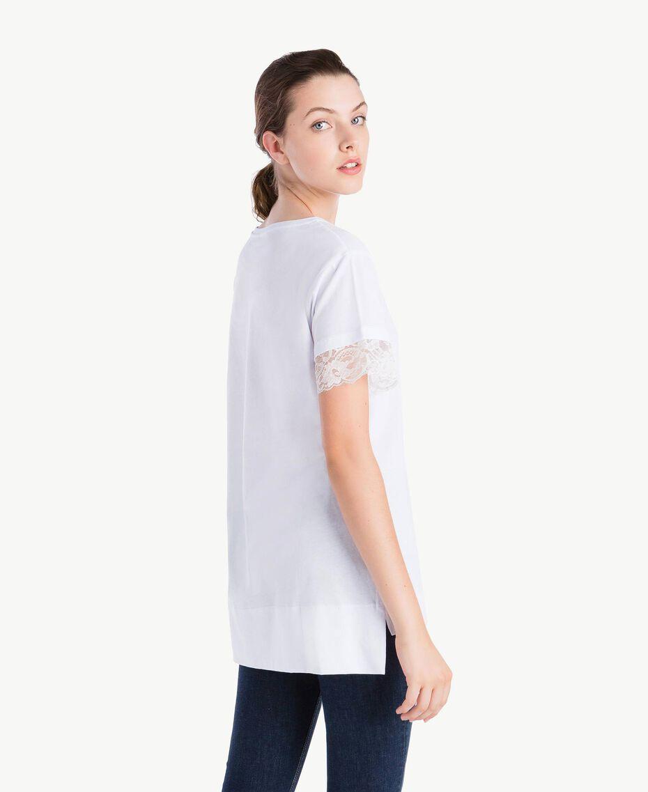T-Shirt mit Ärmeln aus Spitze Weiß Frau NS82AN-03