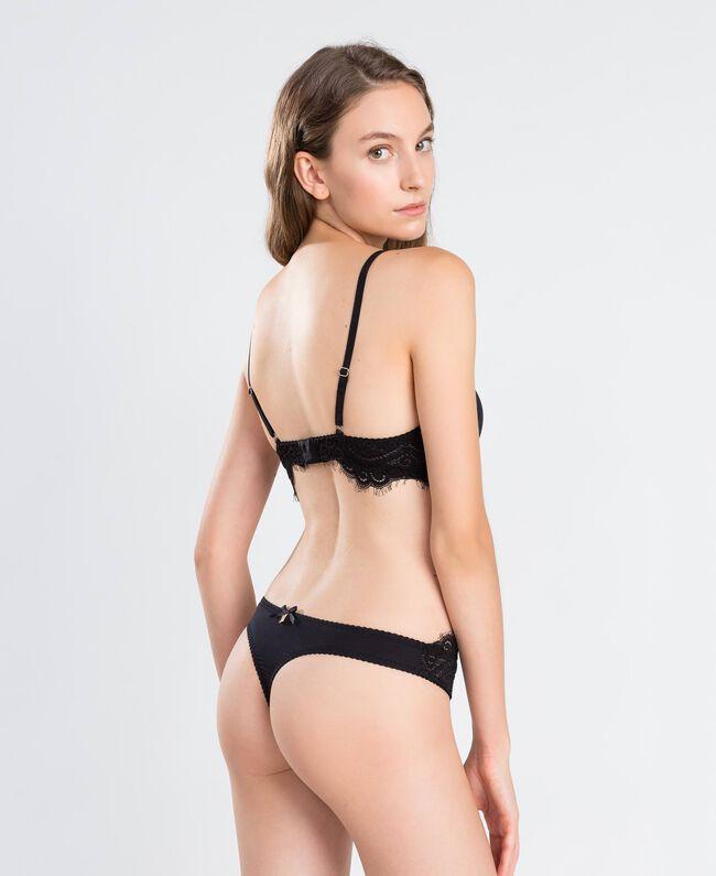 Soutien-gorge push-up lisse avec dentelle festonnée (bonnets C) Noir Femme IA8C3C-03