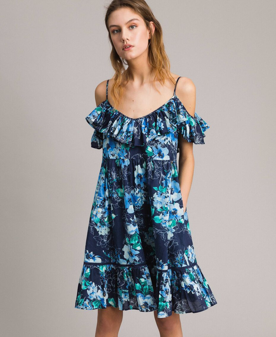 Floral print dress with ruffle and flounce All Over Blunight Multicolour Flowers Print Woman 191MT2290-03
