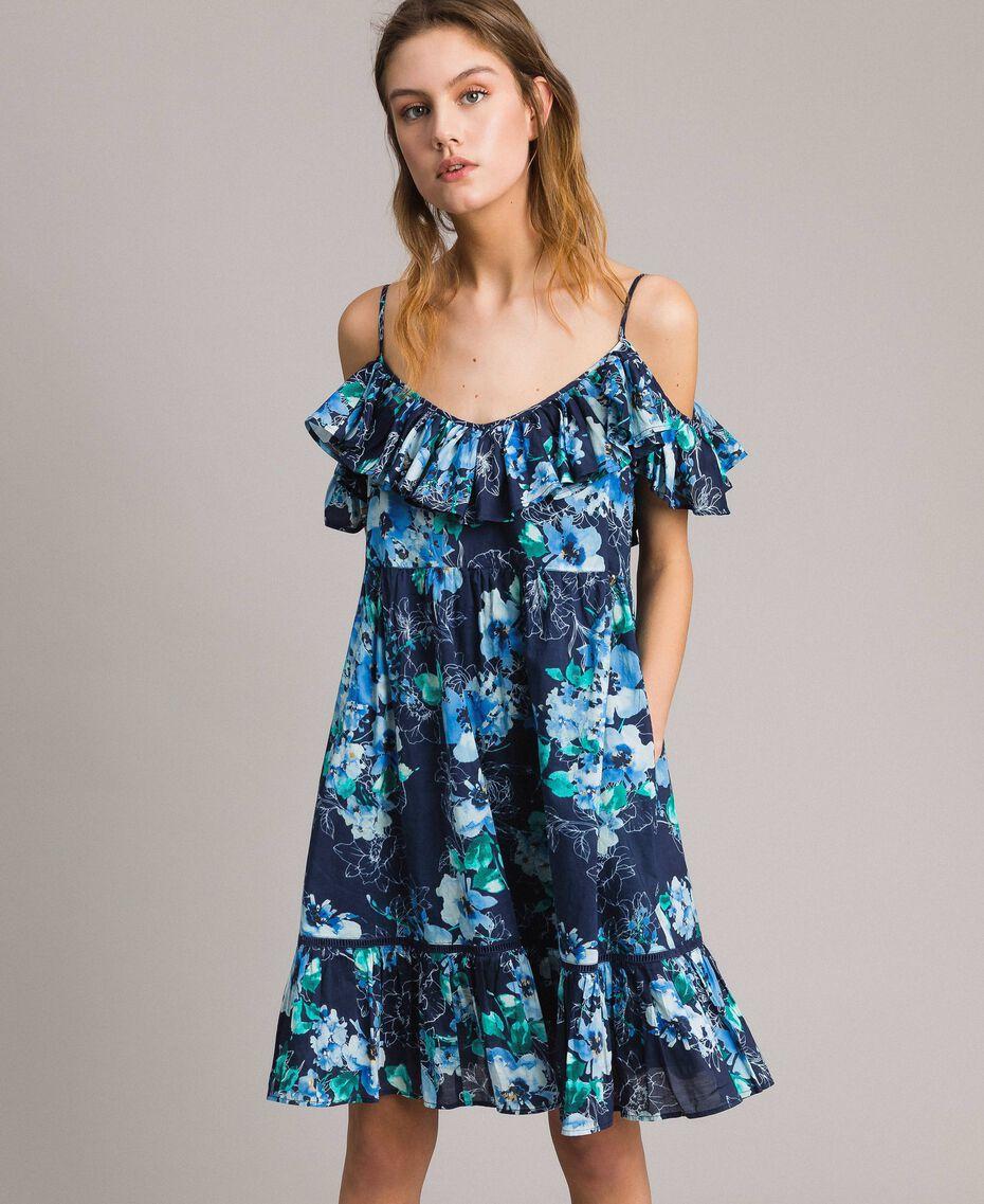 Robe avec imprimé floral et volant Imprimé Fleur Multicolore Bleu Nuit Total Femme 191MT2290-03