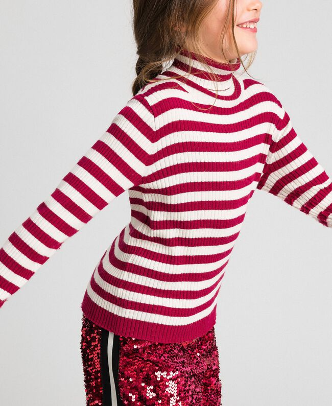 Ribbed mock turtleneck with stripes Ruby Wine Striped Jacquard / Oat Child 192GJ3170-03