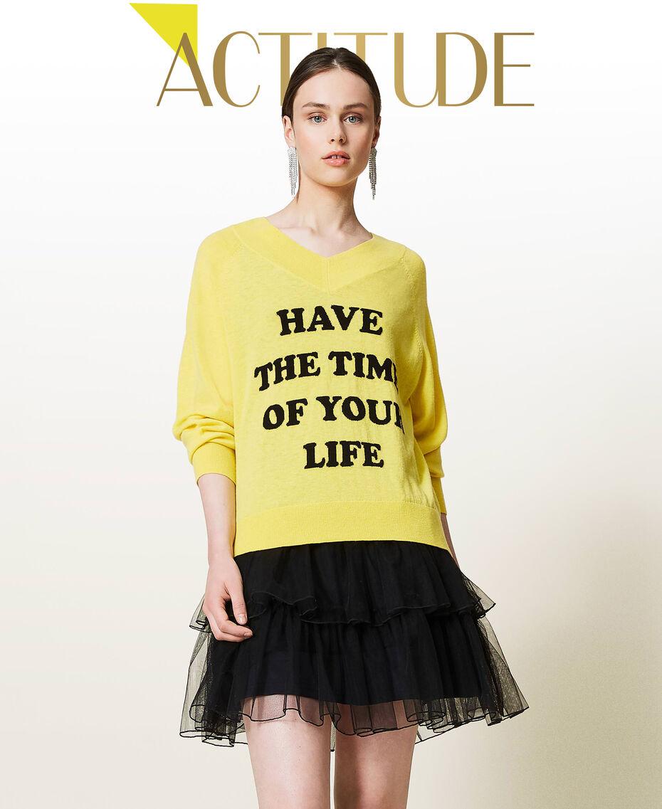 Maxi maglia e abito sottoveste in tulle Bicolor Sunny Yellow / Nero Donna 212AP3120-01