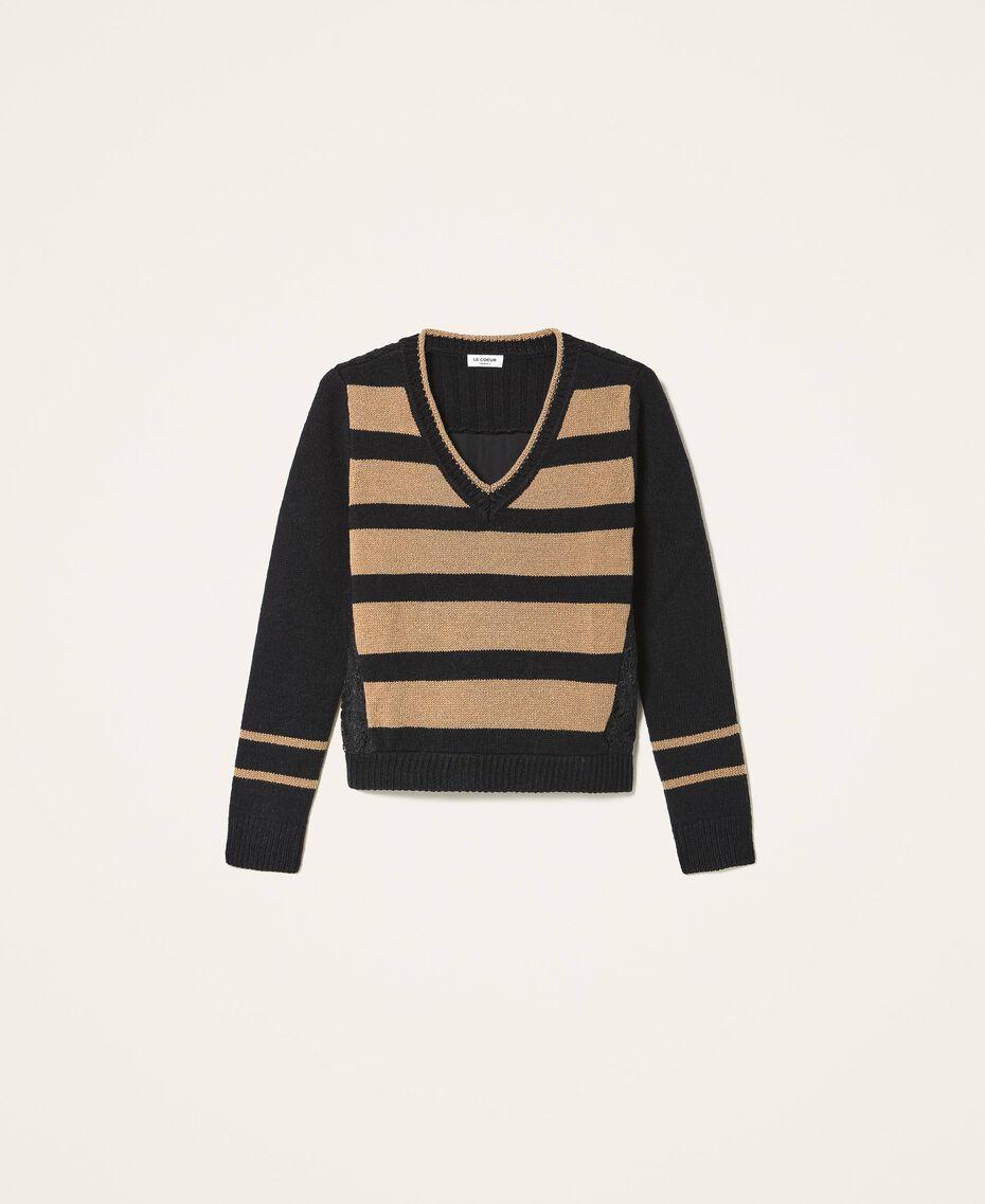 Jersey de rayas con encaje Bicolor Negro / Brown Sugar Mujer 202ST3051-0S