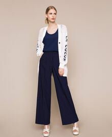 Pin stripe palazzo trousers Midnight Blue Pin Stripe Jacquard Woman 201ST2083-0T