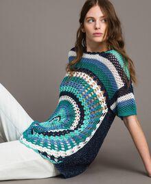 Maxi pull en crochet avec lurex Multicolore Crochet Bleu Nuit Femme 191MT3050-04