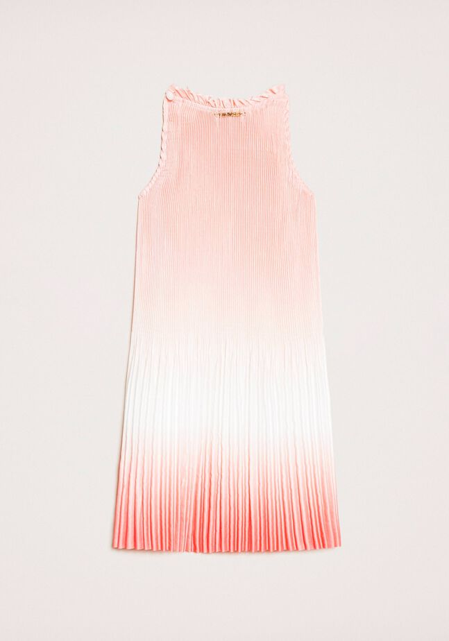 Платье из плиссированного атласа с градиентной окраской