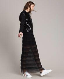 Long jupe plissée à volants Noir Femme 191MP2232-01