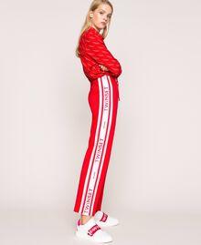 Baskets en cuir avec bande siglée Multicolore Blanc Opaque / Rouge «Géranium» / Rose «Jazz» Femme 201TCT064-0T