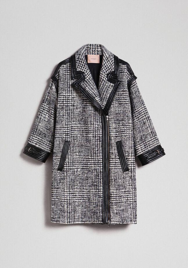 Glen plaid wool cloth coat