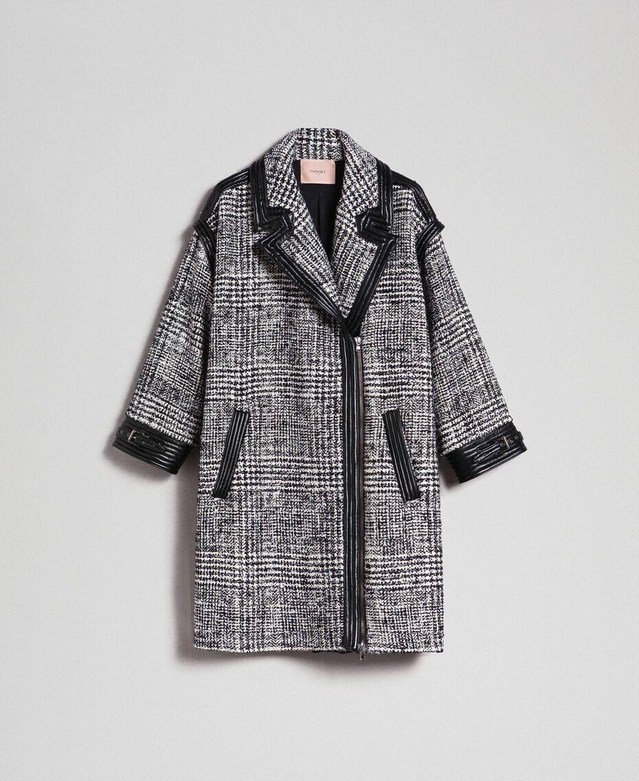 Cappotto in panno principe di Galles Jacquard Neve / Nero Donna 192TT2101-0S