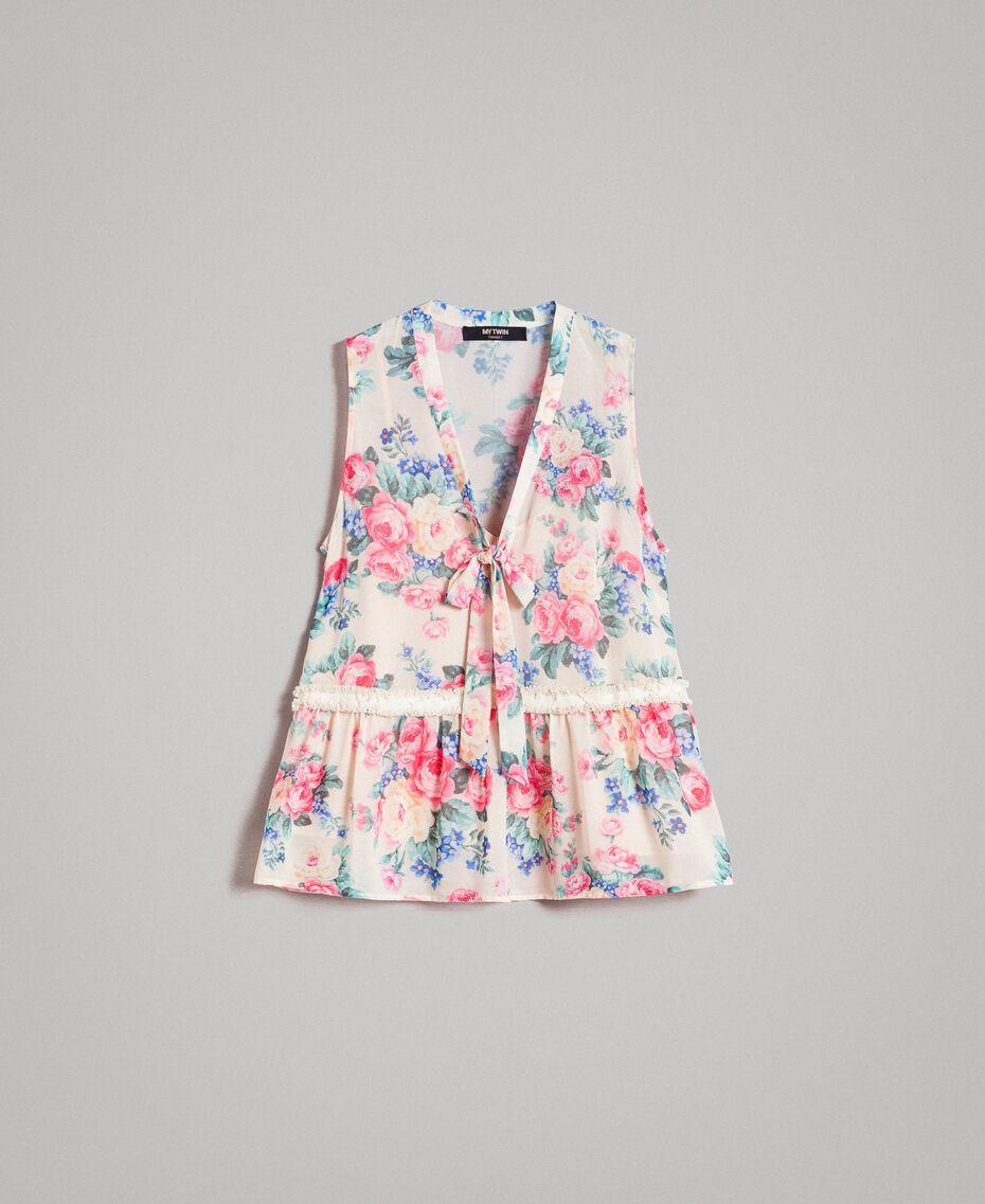 Georgette-Top mit Schleife und Volant Motiv Tuch Weiße Blumen Frau 191MP2332-0S