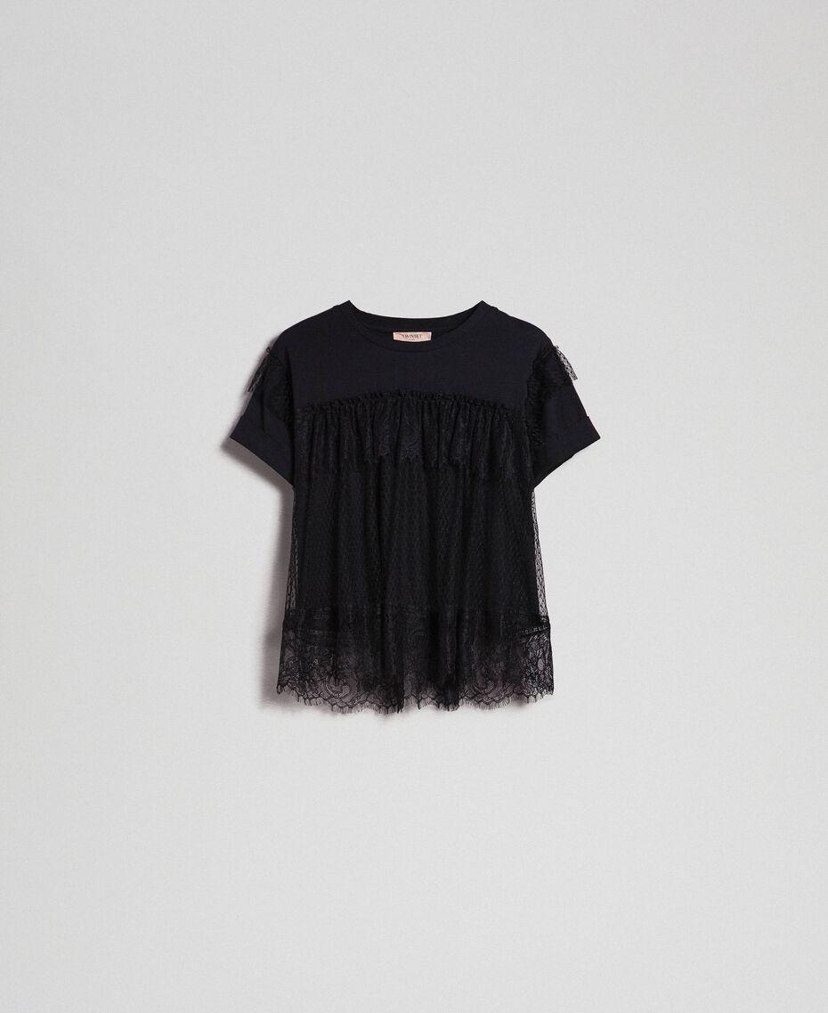 Valenciennes lace flounce blouse Black Woman 192TP2330-0S