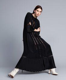Robe longue en soie mélangée avec plissé Noir Femme TA823N-01