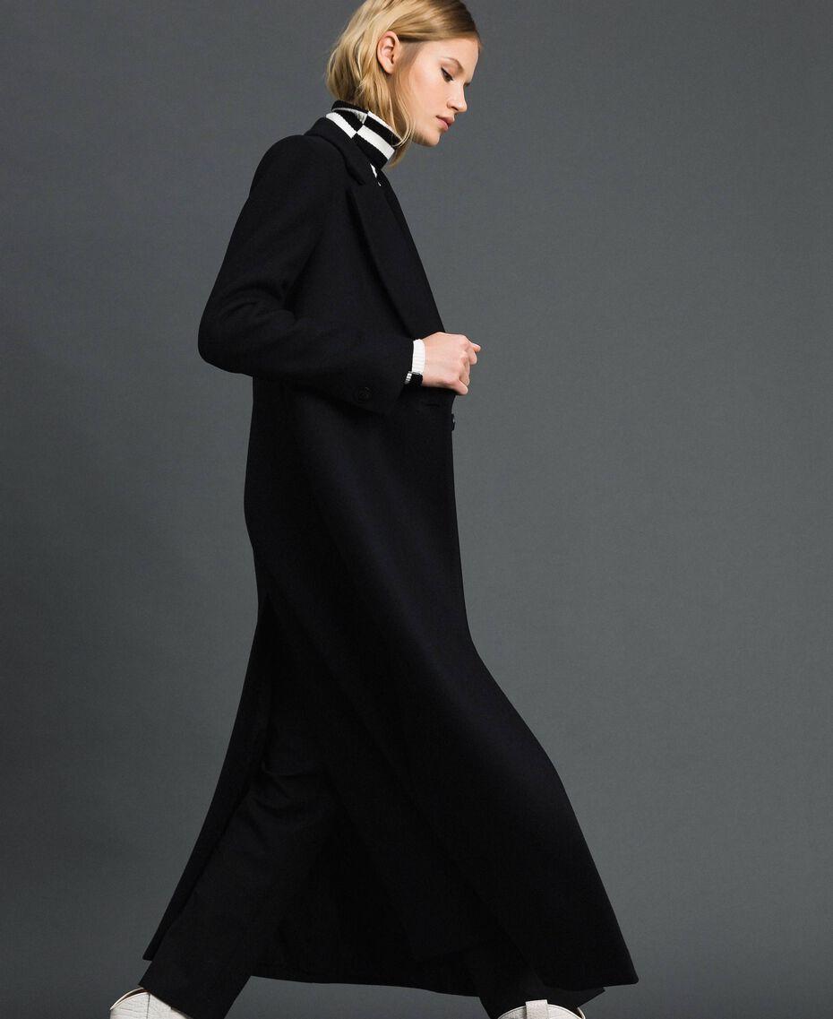 Manteau long en drap Noir Femme 192TP2313-01