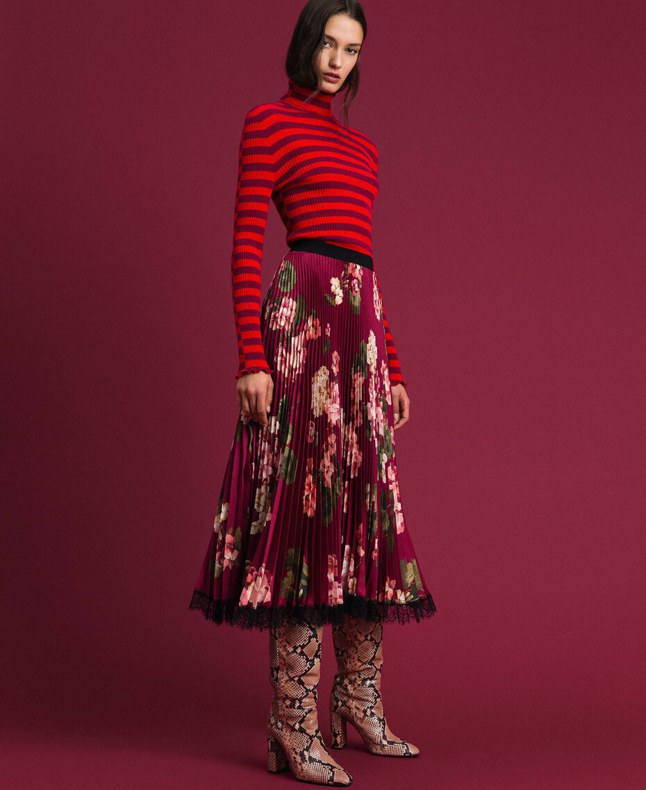Long pleated skirt in floral twill Beet Red Geranium Print Woman 192TP2609-05