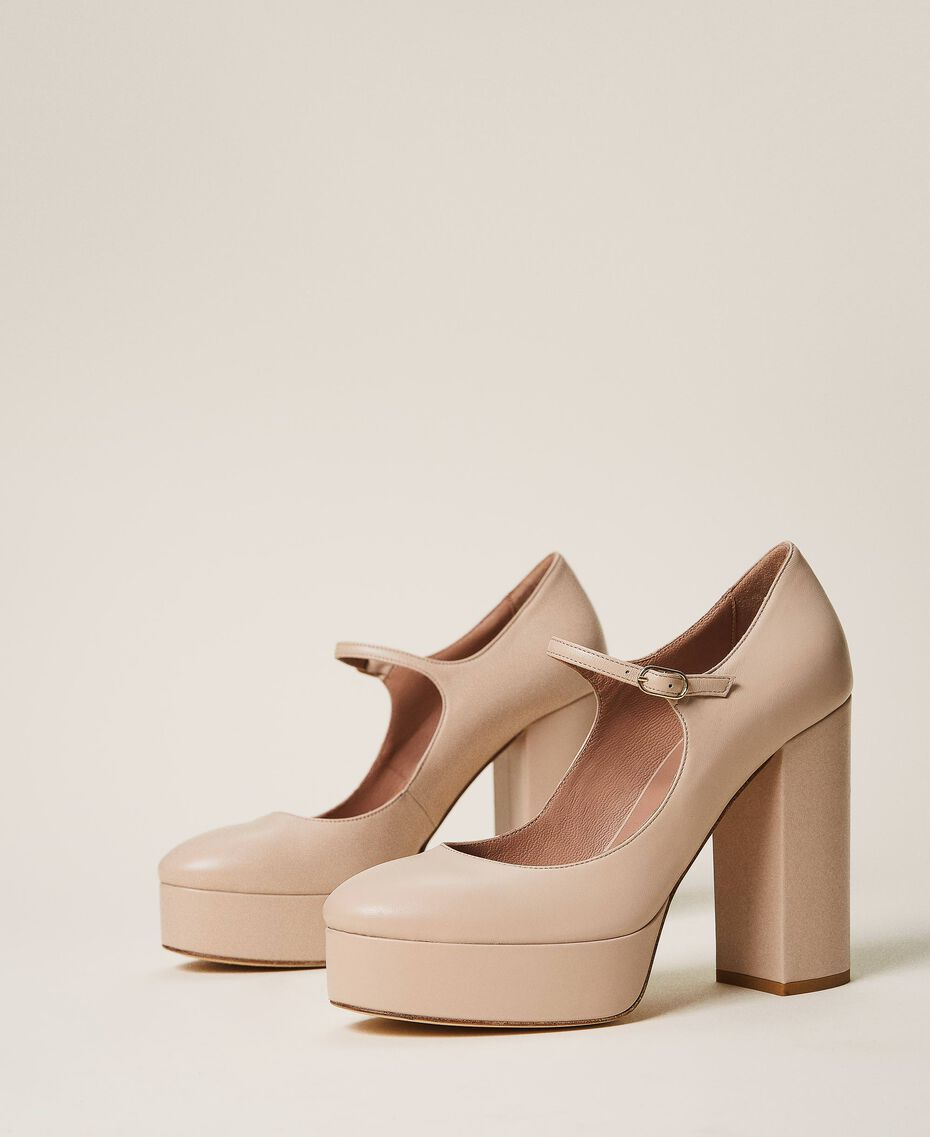 "Platform leather court shoes ""Nude"" Beige Woman 202TCP150-01"