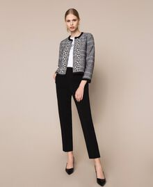 Tweed jacket with embroidery Black Woman 201LB23AA-0T
