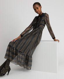 Lurex lace long dress Black Woman 192TT2360-05