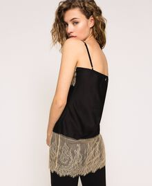 "Satin top with lace Two-tone Black / ""Hemp"" Beige Woman 201MP2134-03"